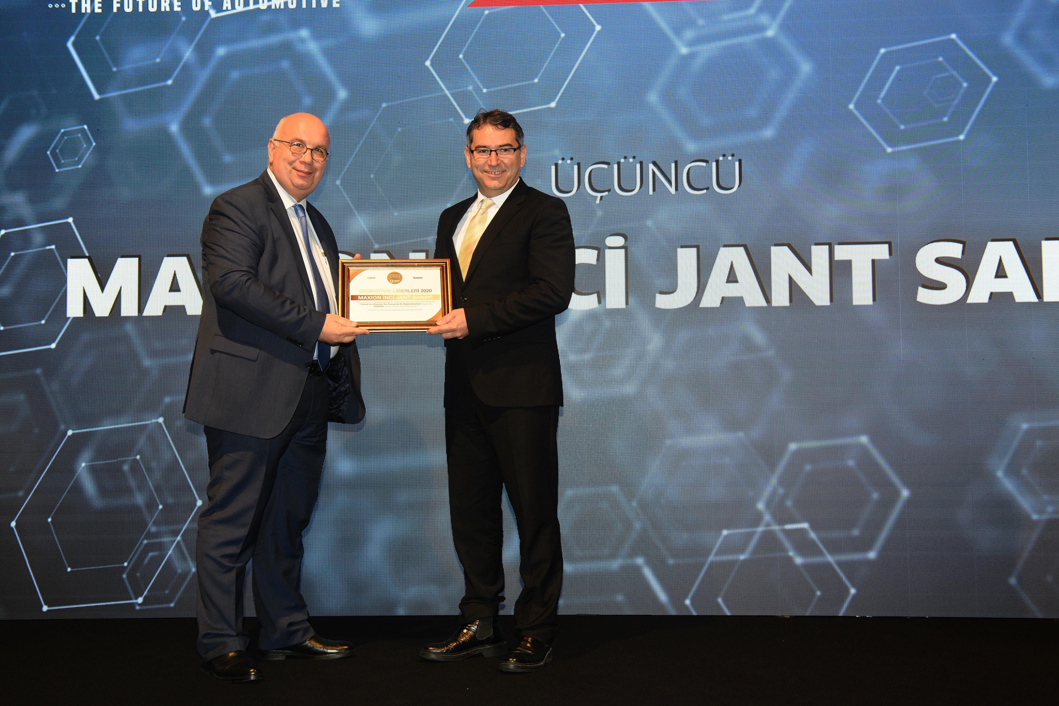 Maxion İnci Jant Grubu'na Türkiye'nin en büyük 3'üncü otomotiv tedarik sanayi şirketi ödülü