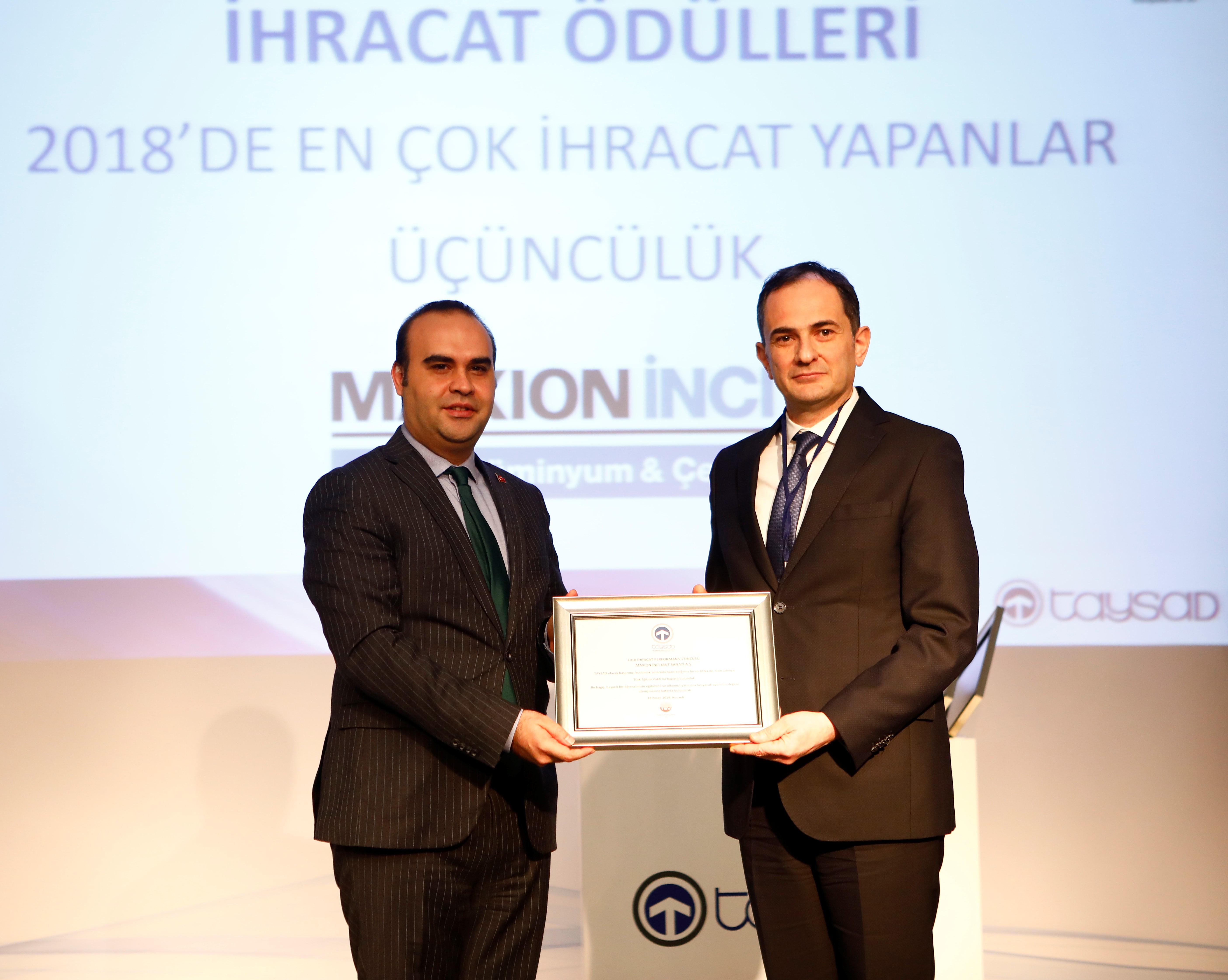Maxion İnci'ye ihracat performans ödülü